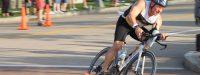 Triathlete Cornering on Bike Course at Pittsburgh Triathlon