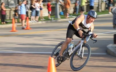 Triathlete Cornering on Bike Course at Pittsburgh Triathlon
