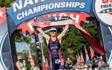 Kirsten Sass crossing a finish line at national championships